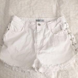 Zara White High Waisted Shorts